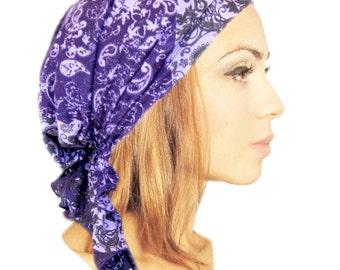 Tichel Basics, Hair Snood, Head Scarf, Chemo Hat, Chemo Cap, Turban, Pre Tied Bandana: Purple Paisley...many more styles in shop - 017