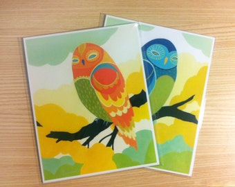Blue & Orange Tree Owl-  Set of (2) 8x10 Fine Art Prints