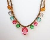 Vintage Crystal Bib Necklace Rainbow Multicolor Glass