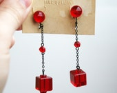 Vintage Red Czech Glass Art Deco Crystal Earrings