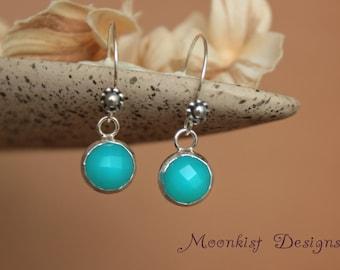 Rose Cut Turquoise Blue Chalcedony Silver Dangle Earrings - Silver Blue Floral Drop Earrings - Dainty Blue Chalcedony Bezel Set Earrings