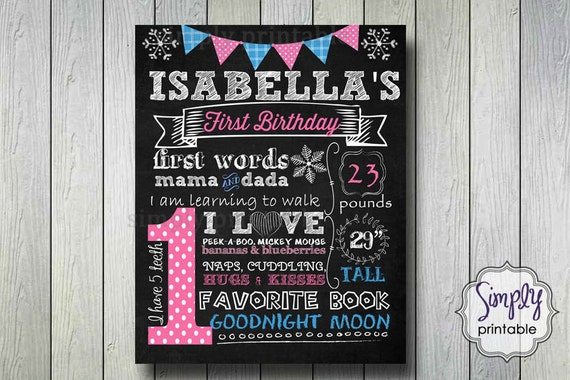 Girls 1st Birthday Chalkboard Poster, Snowflake Winter
