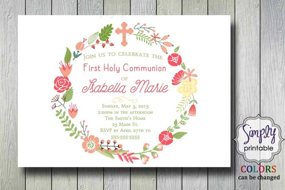 Girls Communion Invitation or Baptism Invitation Floral Design