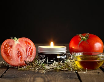 Caprese - Tomato Leaf and Basil Scented Candle - 4 oz. Tin Soy Wax Candle - Garden Candle