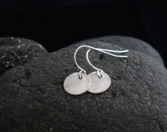 Silver Disc Earrings silver dot drop circle earrings disc earrings, brushed disc earrings,disc earring, round disc, small,9