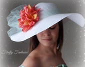 Arizona Tea - Mint and Coral White Floppy Hat with Big Dahlia Flower and Bow Kentucky Derby Race Church Wedding Beach Garden Party