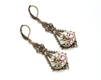 OCTOBER Steampunk Earrings, PINK Earrings, Antique Brass Victorian Steampunk Wedding Earrings SteamPunk Jewelry by VictorianCuriosities