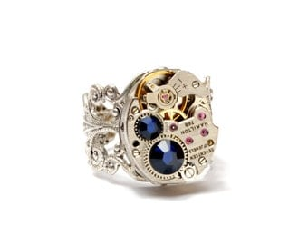 SEPTEMBER Steampunk Ring SAPPHIRE BLUE Steampunk Vintage Watch Ring Silver Birthstone Ring Victorian Steampunk Jewelry Victorian Curiosities