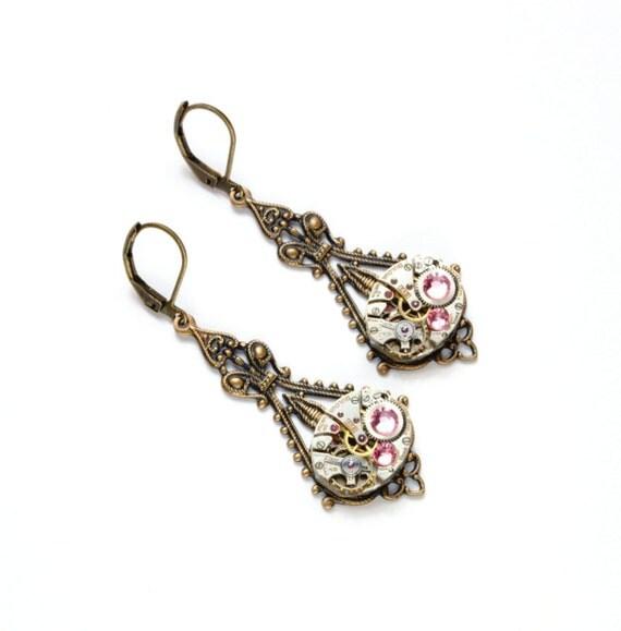 PINK Steampunk Earrings LIGHT PINK Steampunk Jewelry Victorian Steampunk Wedding Earrings Bronze Steam Punk Jewelry by VictorianCuriosities