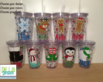Cute Christmas Personalized acrylic tumbler, w/name polka dots, Available in skinny, standard, sport bottle, mason, kiddie cup & XL cup