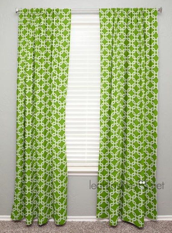 Lime green window curtains - Rideau Vert Lime