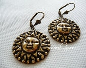 Bronze earrings, sun face, face, antique bronze, antique, gold, brass, dangle, circle of life, vintage style, antiqued, oxidized
