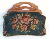 1950s Knitting Bag Upholstery Fabric Handbag Craft Tote Rug Purse Wooden Handles - As Is