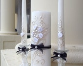 Beautiful Wedding Unity candle set, great match for your Black&White wedding, PERFECT bridal shower gift idea