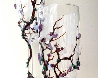 Cotton Tree champagne glasses in dark brown, emerald, white and purple, Elegant Wedding toasting flutes, dishwasher safe