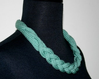 Statement Braided Necklace with Cables - Knit - Handmade