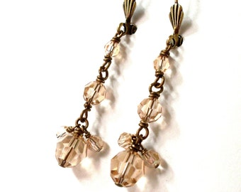 Golden crystal dangle earrings, antiqued brass, Swarovski crystal, wire wrapped, champagne crystal bead earrings, Champagne crystal jewelry.