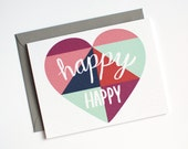 Wedding Card - Engagement Card - Congratulations Card - Happy Happy - Heart - Mint, Coral, Purple