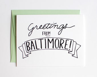 Baltimore Card - Greetings from Baltimore - Greeting Card - Black and White - Mint Green