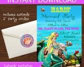 Mermaid invitations DIY Printable - INSTANT DOWNLOAD -