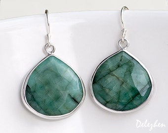 Raw Emerald Earrings - Bezel Gemstone Earrings - May Birthstone Jewelry - Silver Earrings - Drop Earrings