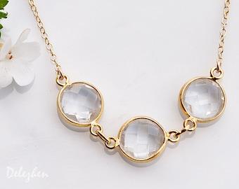 Clear Quartz Necklace - April Birthstone Necklace - Bezel Gemstone Connecters - Gold Necklace - Wedding Jewelry