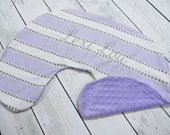 Boppy Pillow Cover- Personalized Boppy Cover- Lavender and White Stripe Front and Lavender Minky Back Boppy Cover
