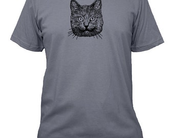 Cat Shirt - Mens Cat Shirt - 5 Colors Available - Mens Cotton T Shirt - Gift Friendly