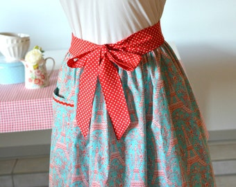 French chic Ruffle Apron Aqua Red Half apron Adult size Paris polka dots shabby chic europeanstreetteam