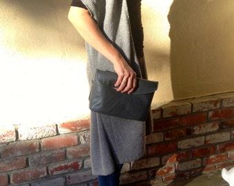 Leather Clutch Grey Bag