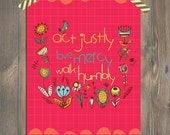 Christian Art LOVE MERCY Scripture Art, Christian Art for a Fun Colorful Home