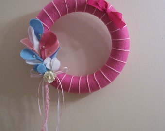 Pink, Light Blue and White - Yarn and Styrofoam Wreath - Perfect for Spring! FREE SHIPPING!