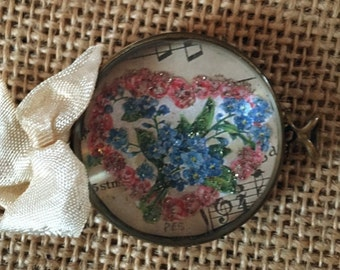 Vintage Handcrafted Pink Roses and green floral Bracelet Piece