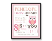 baby birth print digital birth print with owl birth art print new baby announcement personalized baby prints birth stats baby stats