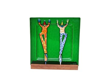 Vintage Art Glass Green Circus Clown Tray Retro Modern Home Decor Artist Jan Mitchell Boxed Signed Whimsical Dancing Clowns