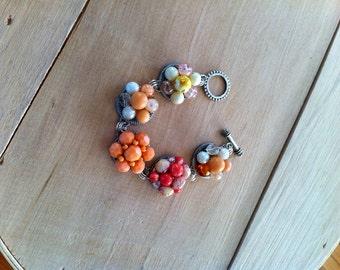 SALE Tangerine Dream Handmade Ooak Cluster Earring Bracelet Upcycled Vintage Clip Earrings Orange Yellow Pink Jewelry