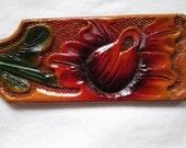 Floral keychain , leather keychain , handmade keychain , colorful keychain , red flower fob , key fob