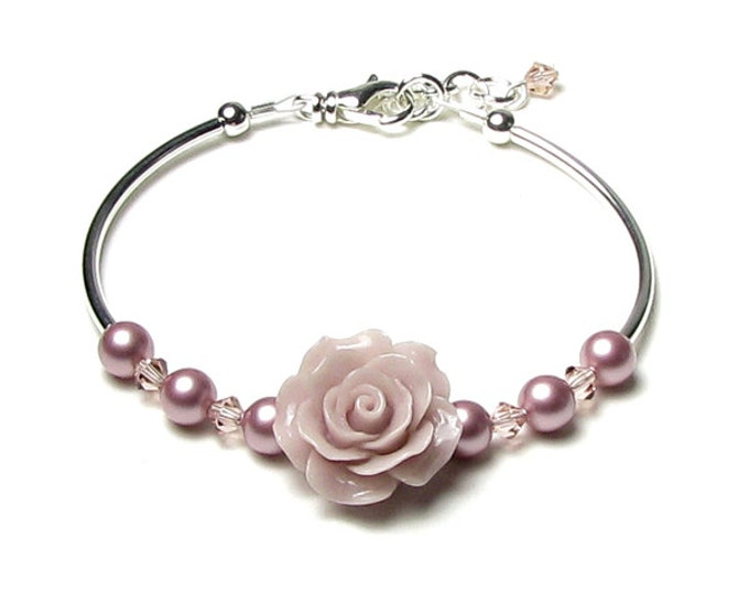 Pink Rose Flower Beaded Swarovski Pearl Silver Bracelet Tiny Mauve Pink Crystals Romantic Gift For Women Bride Dainty Prom Jewelry for Teens