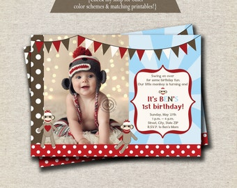 Sock Monkey Invitation red brown baby blue, Sock Monkey Invite, Sock Monkey Party Printables