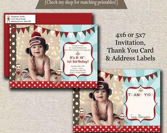 Sock Monkey Invitation, Thank You Card, and Return Address Labels   Vintage Sock Monkey Birthday Party Printables   digital printable