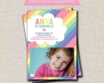 Rainbow Invitation | Rainbow Invite | Pastel Rainbow Party Printables
