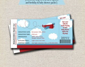 Airplane Baby Shower Ticket Invitation | Airplane Birthday Ticket Invitation | boarding pass, ticket, digital, printable