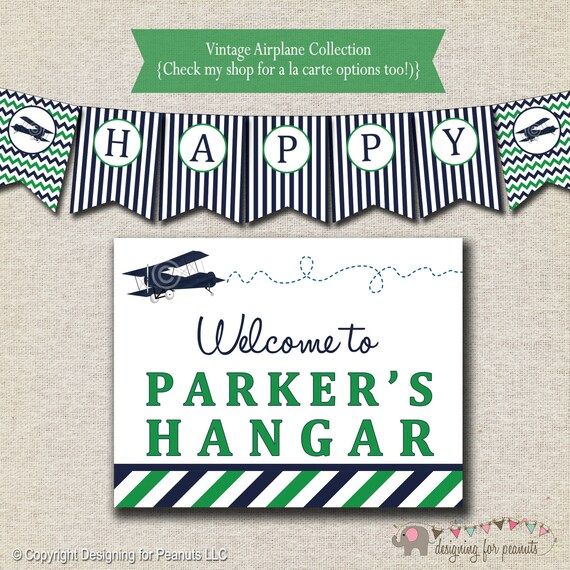 Printable Vintage Airplane Party Collection Diy By: Vintage Airplane Birthday Party Kit Printable Invitation