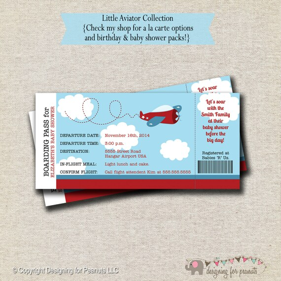 Airplane Ticket Boarding Pass Birthday Invitation: Airplane Ticket Invitation Baby Shower By Designingforpeanuts