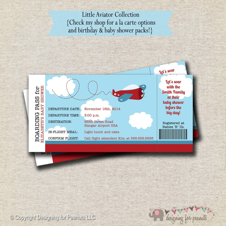 Airplane Baby Shower Ticket Invitation Airplane Birthday