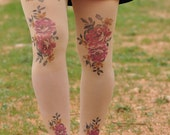 Tights - Romantic Vintage Roses - ROSES Tights - Antique romantic red -Size S / M / L - bridesmaid -Beige