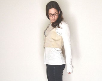 Cropped Button Vest 90s Vintage Faux Suede Eggshell White Fitted Waistcoat