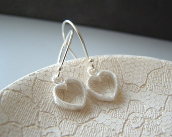 Lovely Hearts , small sterling  silver  heart shape earrings with sterling silver ear wires - New Item