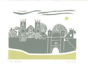 York City Print - England,Medieval Walls Linocut - Architecture - Original  Print - Yorkshire UK - Gray - Green - Signed Giuliana Lazzerini