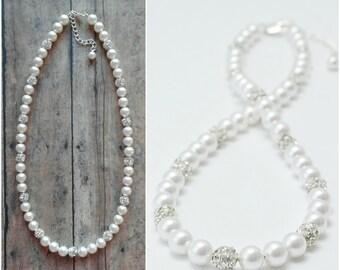 Single Strand Pearl Necklace, Wedding Jewelry, Pearl Bridal Jewelry, Pearl Wedding Necklace, Pearl Jewelry Set, Pearl Necklace for Bride